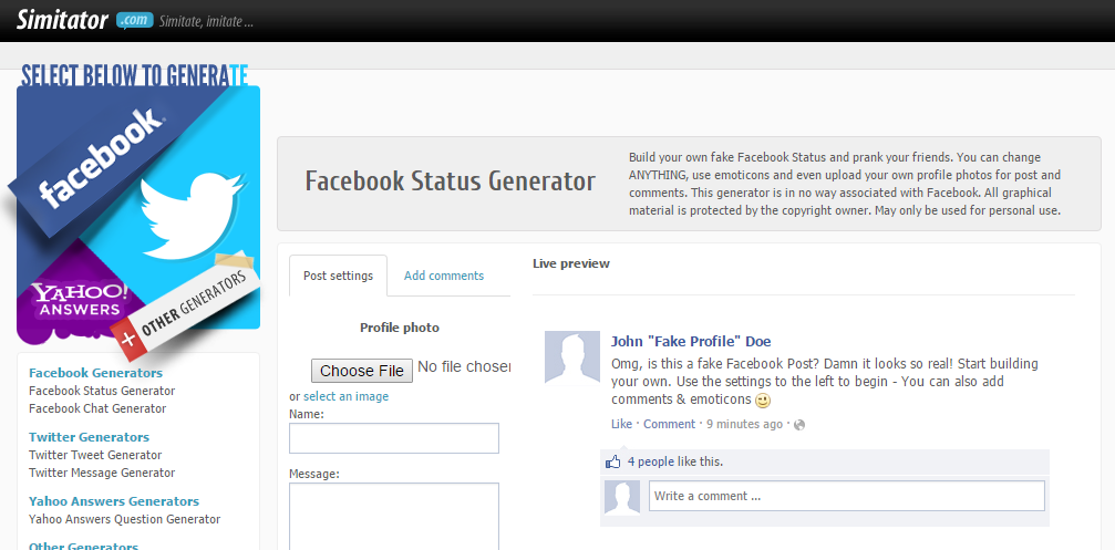 Create Fake Facebook Status