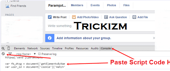 how to cancel all sent friend request on facebook using script code